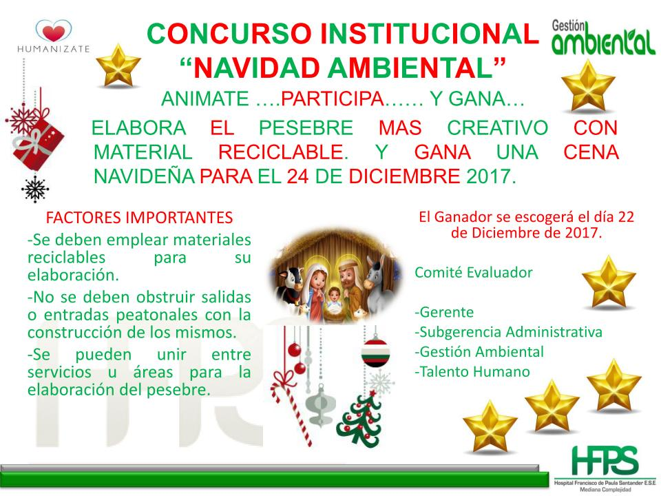 Concurso Institucional «Navidad ambiental» – Convocatoria interna.